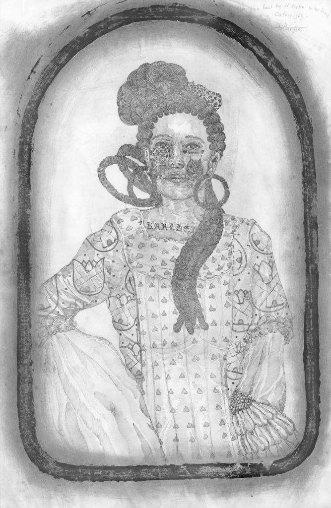 03_frohawk_the-woman-who-sold-the-world.-a-full-pound-of-ceylon-gold-upon-her-crown_2019_ink-and-tea-on-paper_66_6-x-106_6-cm