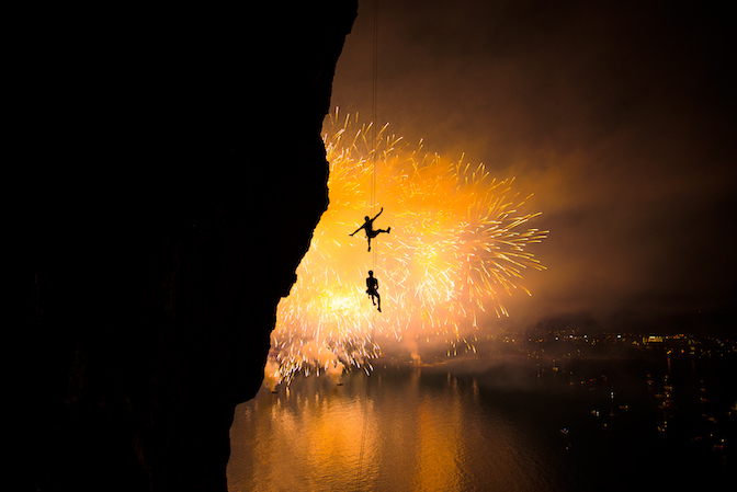Climbing with fireworks